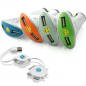 Smiley Double-port Car Charger