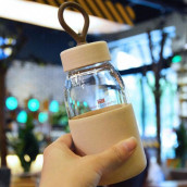 400ML Wheat Straw Portable Glass Cup