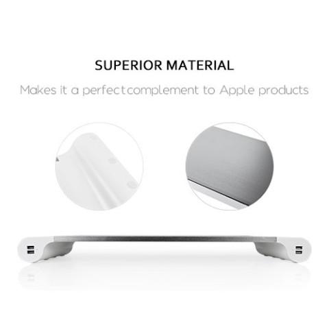Aluminum Monitor Stand Riser with 4 USB Charging Ports, USB Hub