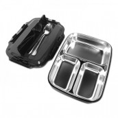 3-Compartment Stainless Steel Lunch Box (with Cutlery)