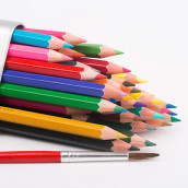 Color Pencil with Triangle Tin Box