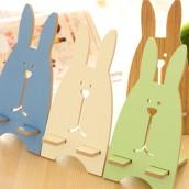Wooden Rabbit Mobile Phone Holder