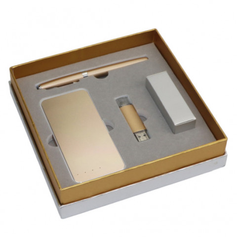 Charger Business Set, Metal USB Flash Drive