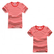 Round Neck Striped Short Sleeve Shirt
